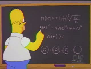 homer simpson writting equations of a doughnut